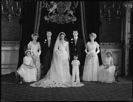 George Lascelles, 7th Earl of Harewood and Marion Stein with wedding party