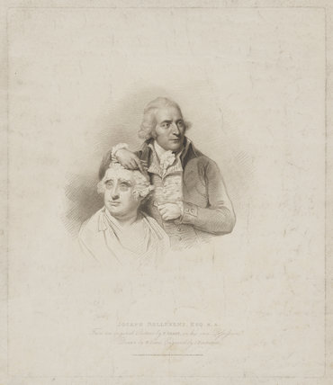 Joseph Nollekens with a bust of Charles James Fox