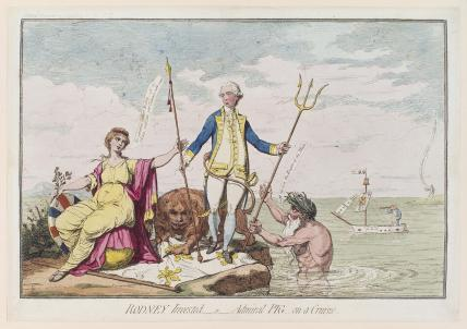 'Rodney invested - or - Admiral Pig on a cruize' (George Bridges Rodney, 1st Baron Rodney; Hugh Pigot; Charles James Fox)