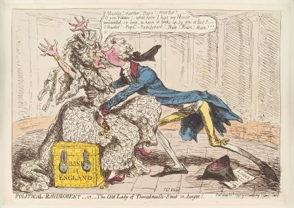 William Pitt ('Political-ravishment, or the old lady of Treadneedle-Street in danger!')
