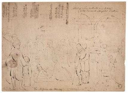 Sketch of 'The Mission of Mercy: Florence Nightingale receiving the Wounded at Scutari'