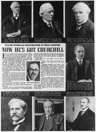 Walter Stoneman (copy of newspaper article, including Walter Stoneman's photographs of seven Prime Ministers)