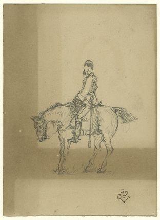 Unknown cavalryman on horseback
