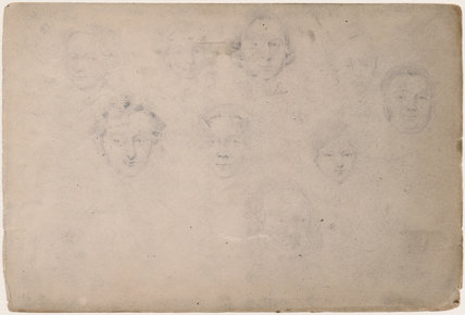 Sketches of nine unknown sitters