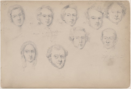 Mrs Ridgway; Morgan; Marshall; Captain Mill and five unknown sitters