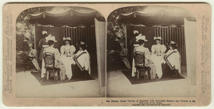 Queen Victoria at breakfast with Princesses Beatrice and Victoria