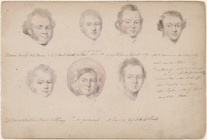 I. Fisher; possibly Loyd Wallring; W. Benjamin; William Darby Brind; Mrs Goldborough; possibly Mr Cummins