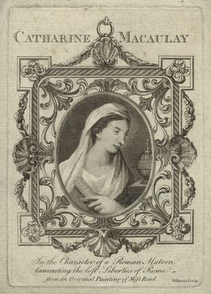Catharine Macaulay (née Sawbridge) in the character of a Roman matron lamenting the lost liberties of Rome