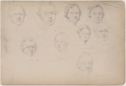Lucie; Charles Smith; Mrs Giles Dickenson; Moore; Mr Dickenson; Gibson and three unknown sitters