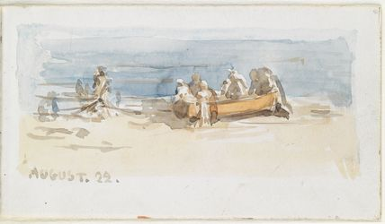 Study of figures and boat on the beach