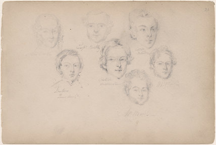 W. Marsh and six unknown sitters
