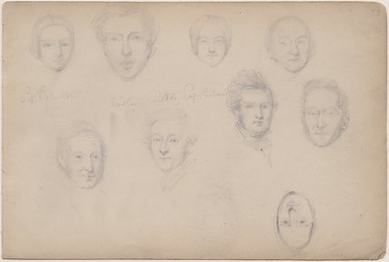 Possibly Captain Richardson and eight unknown sitters
