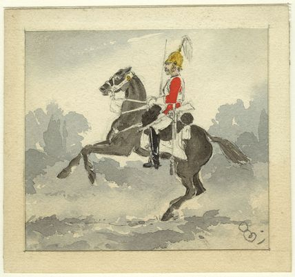 Sketch of an unknown guardsman on horseback