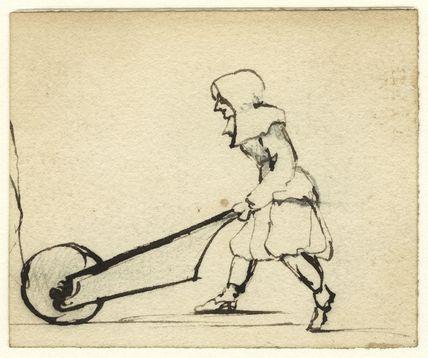 Sketch of a figure pushing a wheelbarrow