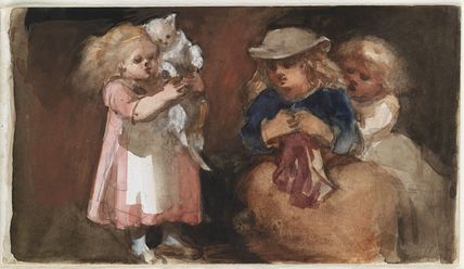 Three unknown children and a cat