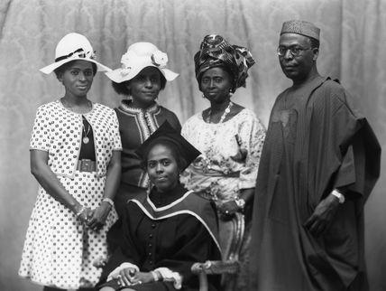 Hannah Idowu Dideolu Awolowo (née Adelana) and Obafemi Awolowo with their family