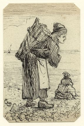 Sketch of two unknown women, one carrying a large basket