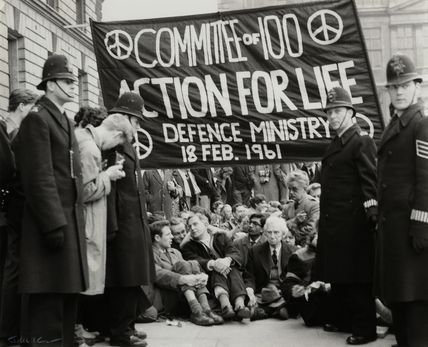 Anti-nuclear demonstrators including Michael Randle, Michael Scott; Bertrand Russell and Hugh MacDiarmid