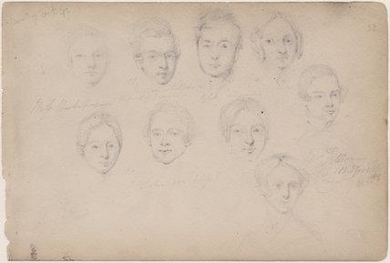 Nine unknown sitters