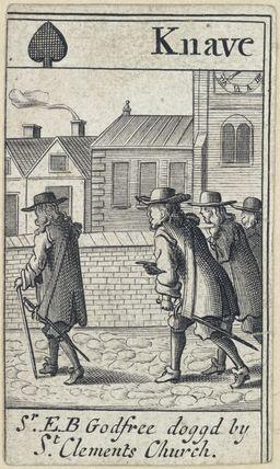 'Sr. E.B Godfree doggd by St Clements Church' (Sir Edmund Berry Godfrey; Robert Green; Henry Berry; Lawrence Hill)