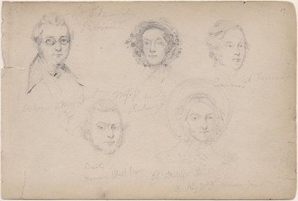 Mr Edward; Miss Roberts and three unknown sitters
