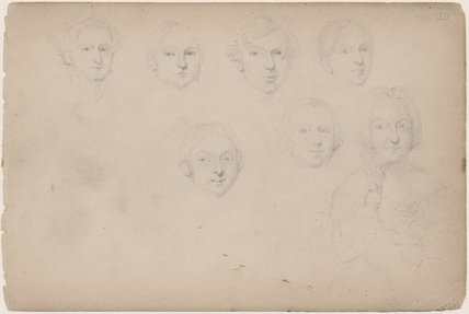 Seven unknown sitters