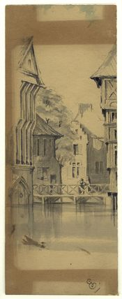Sketch of a town with a figure on a bridge