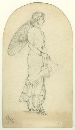 Figure study of a woman with a parasol