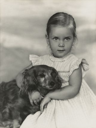 Amanda Patricia Victoria (née Knatchbull), Lady Ellingworth with her dog Janey