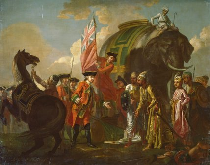 Robert Clive and Mir Jafar after the Battle of Plassey, 1757