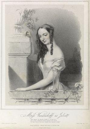 Charlotte Elizabeth Vandenhoff as Juliet in 'Romeo and Juliet'