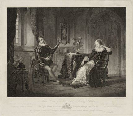 Pierre de Bocosel de Chatelard or Chastelard playing the lute to Mary, Queen of Scots