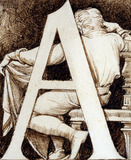 Letter A, from Design for an Alphabet, by Godfrey Sykes. England, 1864