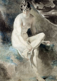 Study from the nude female seated on a bank, by William Etty
