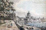 St.Paul's Cathedral from the terrace of Old Somerset House, by William James