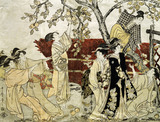A Man and Six Women Gathering Persimmons, by Kitagawa Utamaro