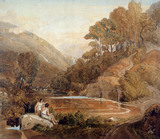 Landscape of Borrowdale with Classical Figures, by Joshua Cristall. England, 1814