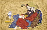 Lovers embracing and drinking wine, by Afzal-al-Husaini