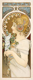Poster of a woman holding bay leaves and a feather, by Alphonse Mucha