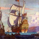 The Revenge Leaving Portsmouth to Join The Armada, by Norman Wilkinson