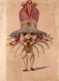 Ballet costume design for a man with large head between his shoulders