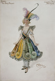 Costume design for the Eccentric Dress for Adeline Genée in the ballet The Pretty Prentice, designed by William John Charles Pitcher