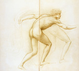 Naked pilgrim showing a nude figure making a running action, from Love leading the Pilgrim, by Edward Burne-Jones