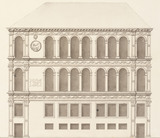 Drawing of the south front of the Palazzo de Magistrati, by I. Bocher