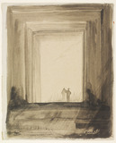 Design of a stage scene for Hamlet, by Edward Gordon Craig