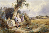 Young Gleaners Resting by a Stile, by Miles Birket Foster
