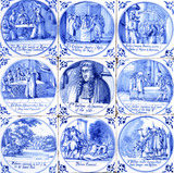Nine tiles depicting the Popish Plot