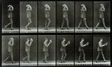 Man taking off his boater, photo Eadweard Muybridge