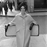 Model wearing coat