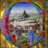 Initial letter C depicting The Martyrdom of St Lawrence
